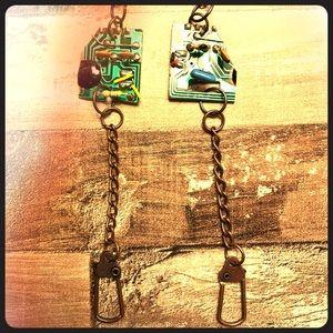 Handmade motherboard steampunk earrings